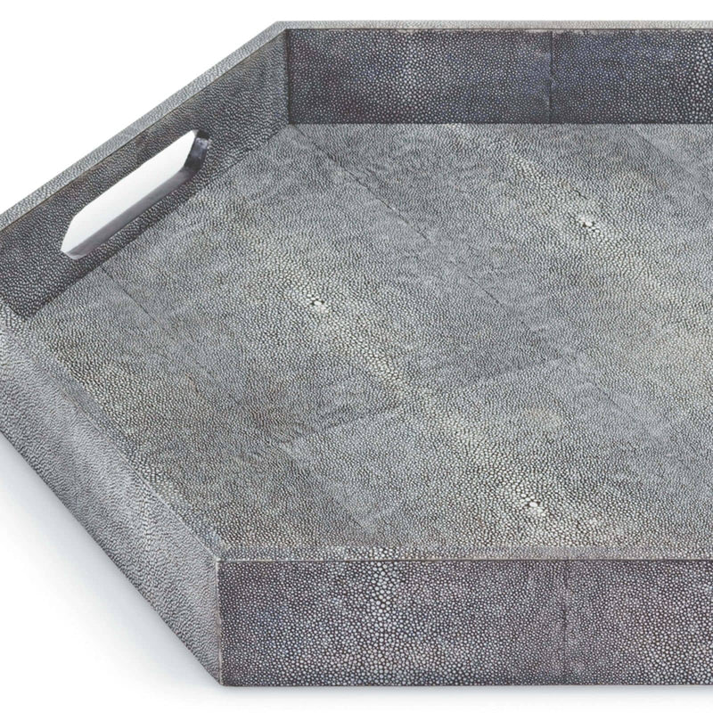 Regina Andrew Shagreen Hex Tray (Charcoal)-Functional Display-Iron Home Concepts