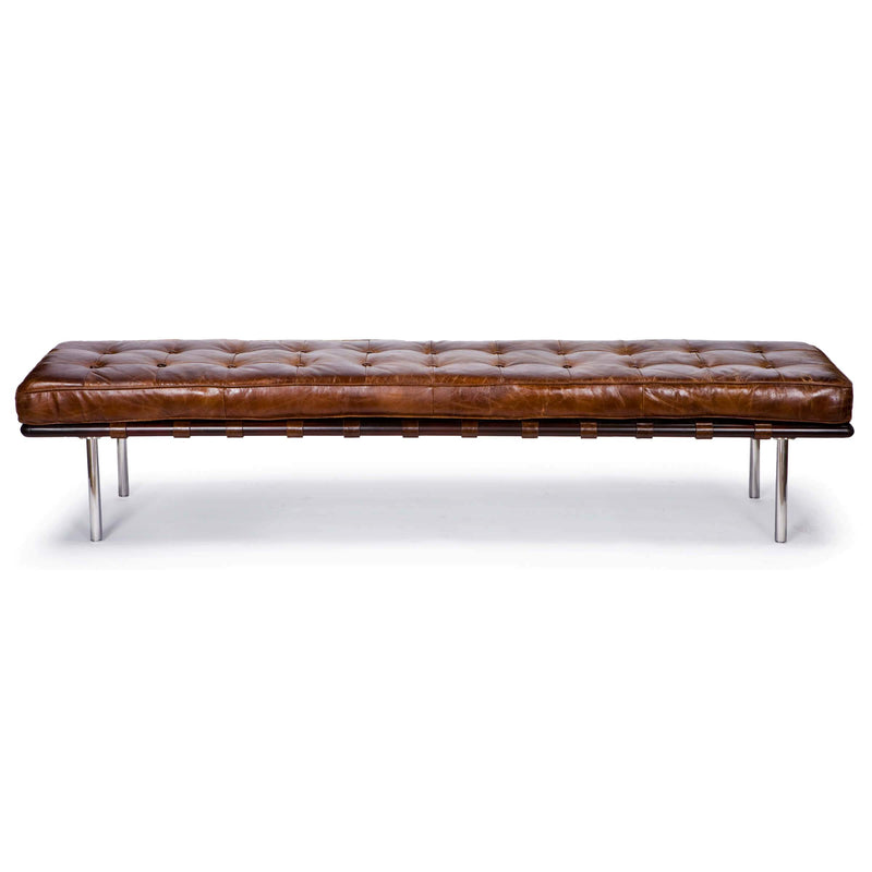 Regina Andrew Tufted Gallery Bench (Cigar)-Seating-Iron Home Concepts