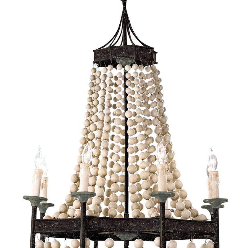 Regina Andrew Wood Beaded Chandelier-Ceiling Fixtures-Iron Home Concepts