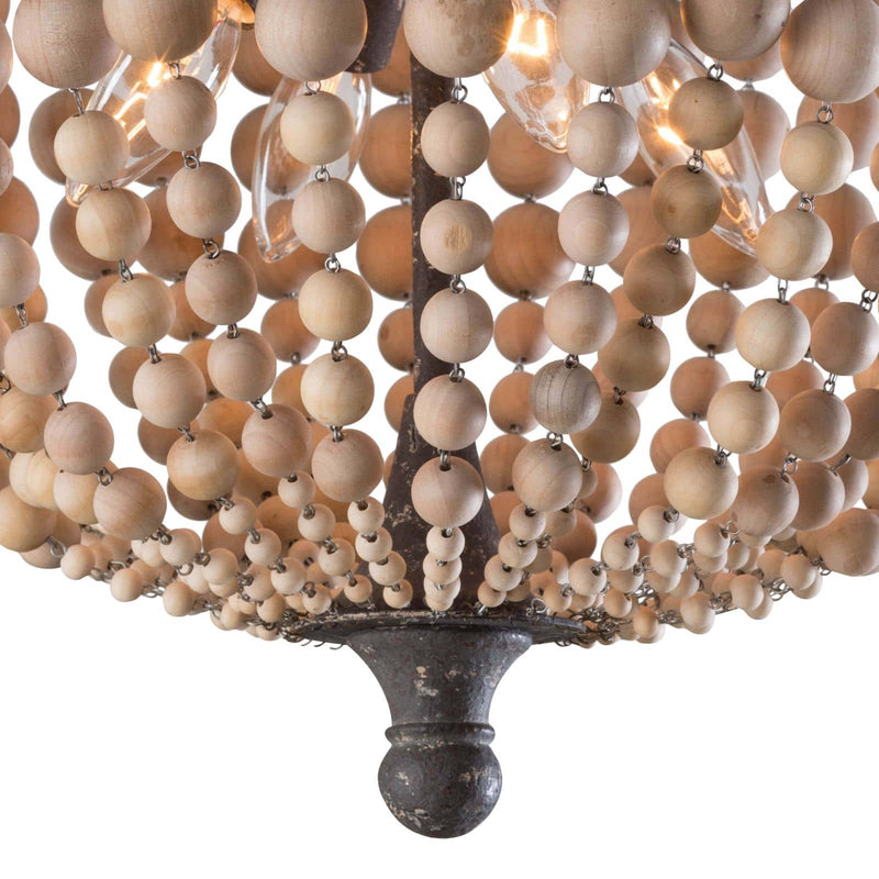 Regina Andrew Wood Beaded Semi Flush Mount-Ceiling Fixtures-Iron Home Concepts