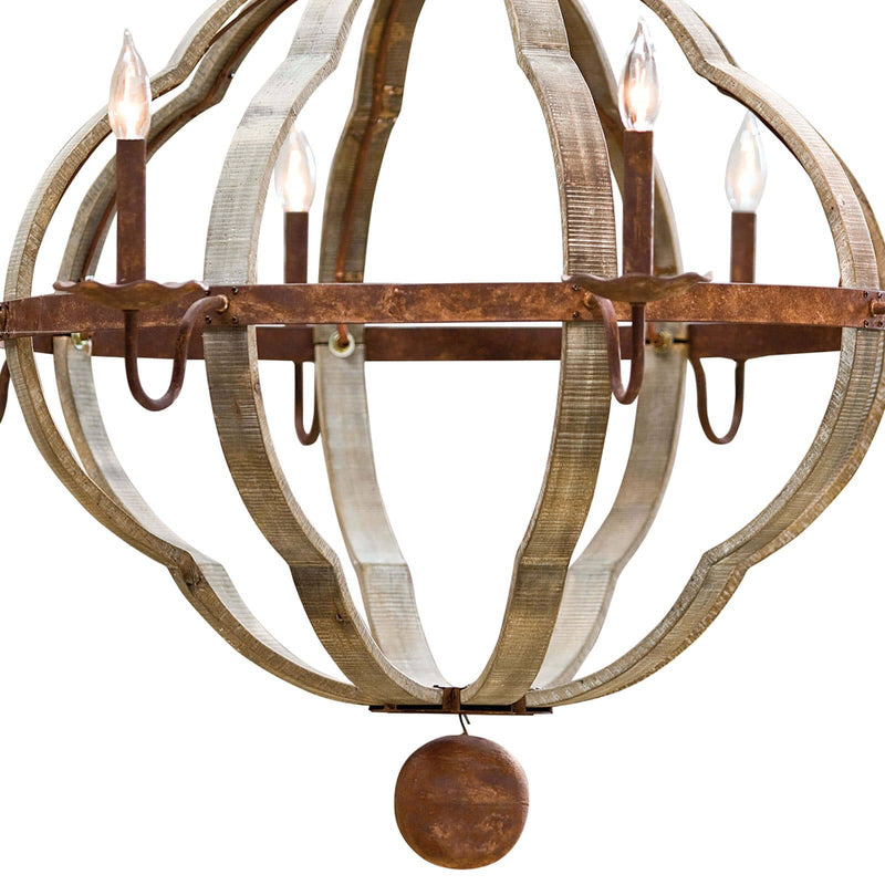 Regina Andrew Wooden Quatrefoil Chandelier-Ceiling Fixtures-Iron Home Concepts
