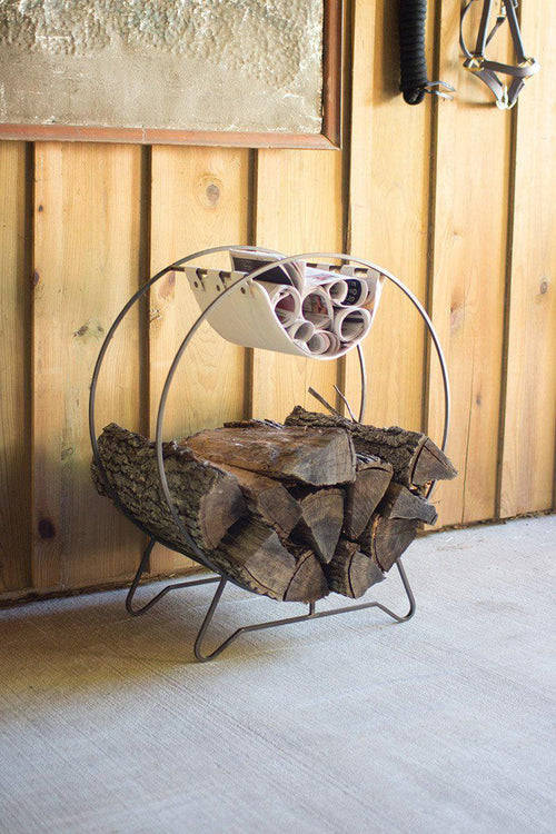 Round Log Holder With Canvas Kindling Sling-Iron Home Concepts