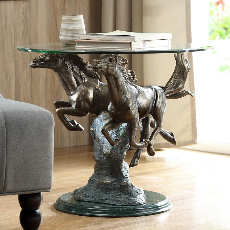 Running Horse Pair End Table-Iron Home Concepts