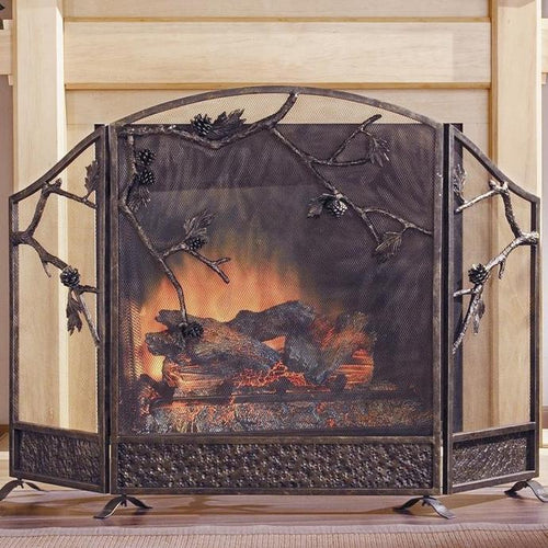 Rustic Pinecone Fireplace Screen-Iron Home Concepts
