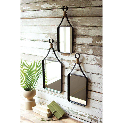 Set Of Three Metal Framed Wall Mirrors With Wood Ball Detail-Iron Home Concepts