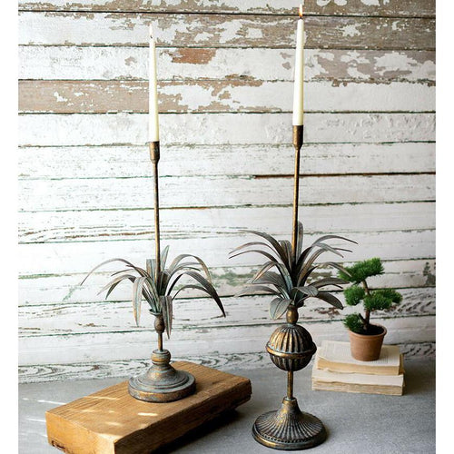 Set Of Two Antique Brass Metal Leaves Taper Candle Holders-Iron Home Concepts