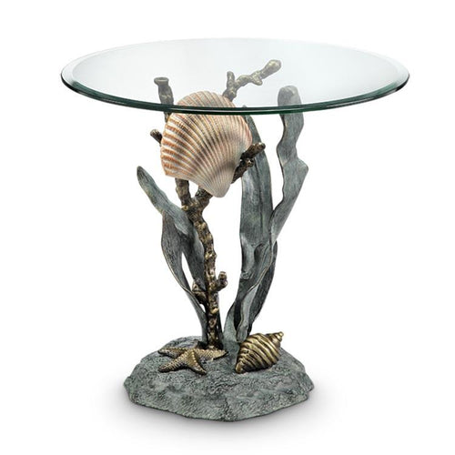Shells and Seagrass End Table-Iron Home Concepts