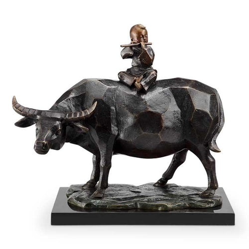 SPI Home Contemplation Flutist and Bull Statue-Iron Home Concepts
