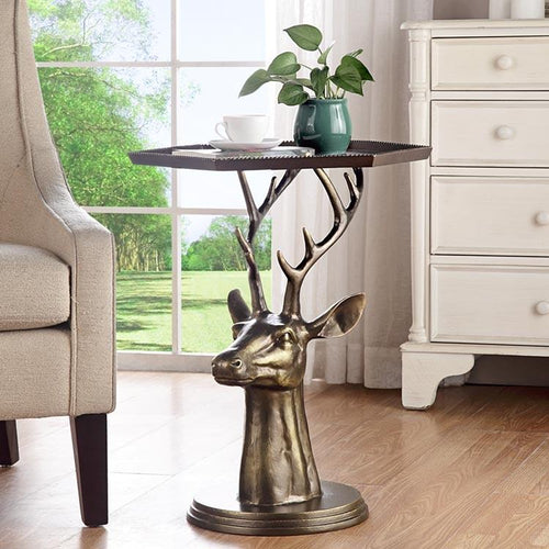 SPI Home Deer Bust End Table-Iron Home Concepts