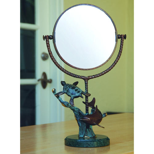 SPI Home Dolphin & Turtle Tabletop Mirror-Iron Home Concepts