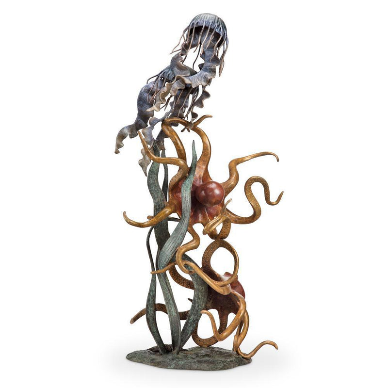 SPI Home Undersea Wonders Quartet Octopuses and Jellyfish Sculpture-Iron Home Concepts