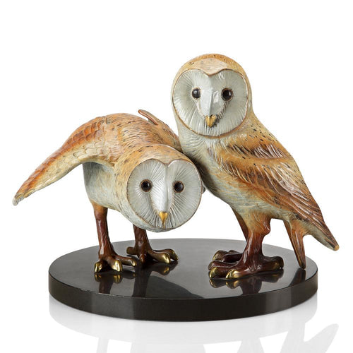 SPI Home Wise Pair Barn Owls-Iron Home Concepts