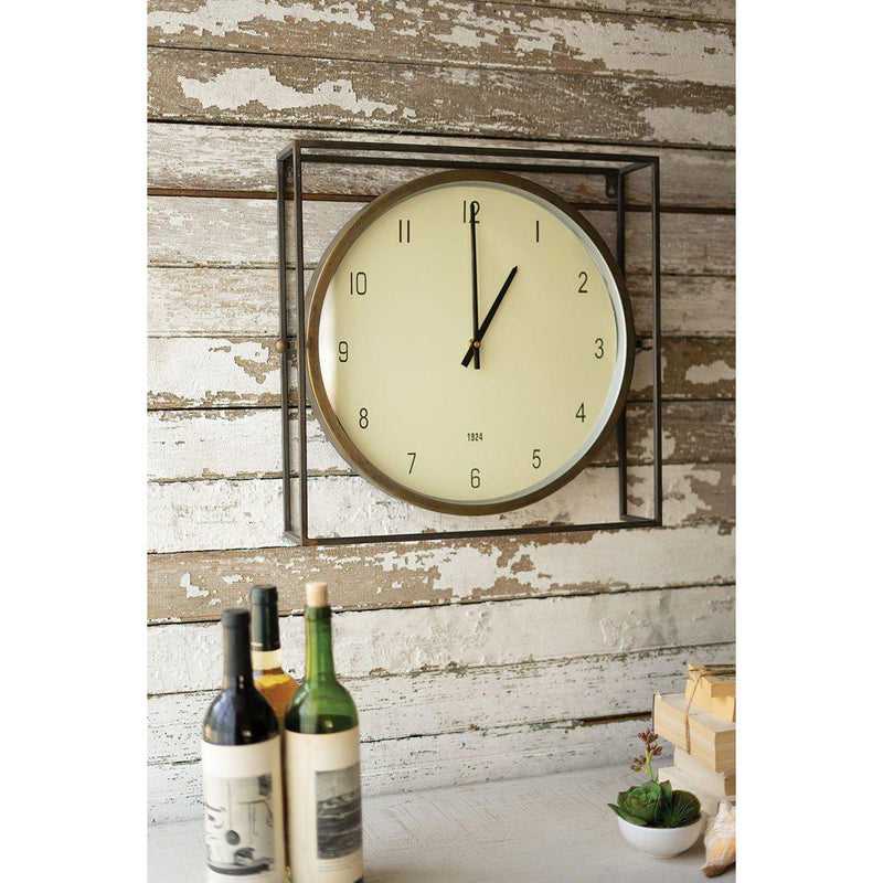 Square Metal Framed In Round Wall Clock-Iron Home Concepts