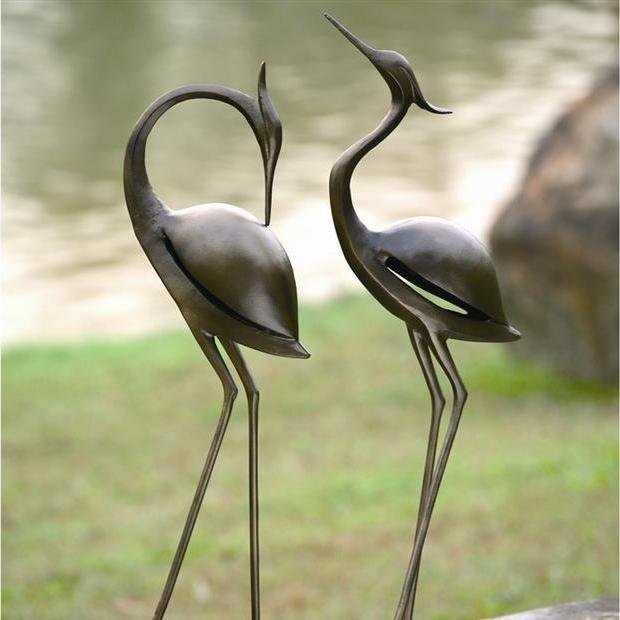 Stylized Garden Heron Pair-Iron Home Concepts