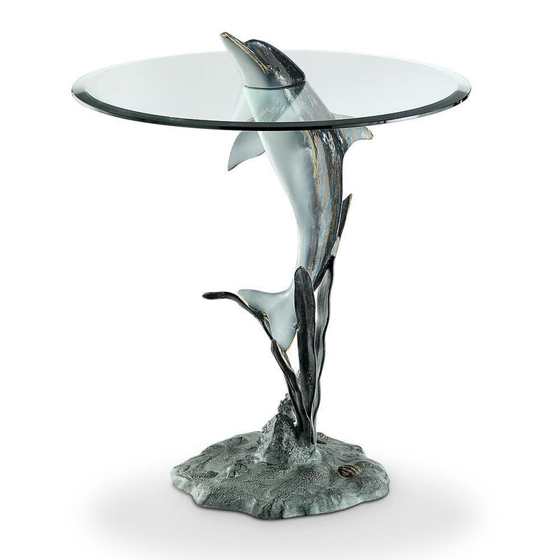 Surfacing Dolphin End Table-Iron Home Concepts