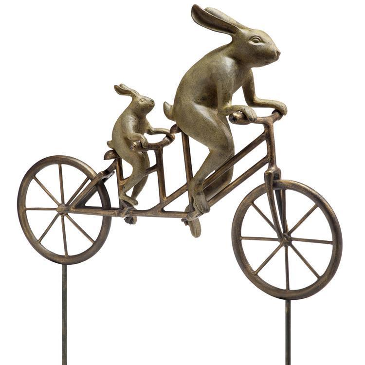 Tandem Bicycle Bunnies Garden Decor-Iron Home Concepts