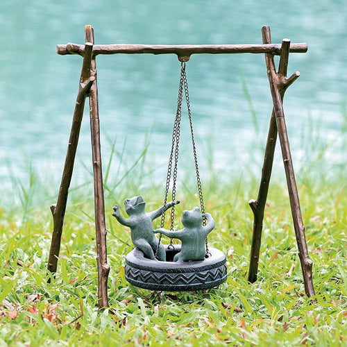 Tire Swing Frogs Garden Sculpture-Iron Home Concepts