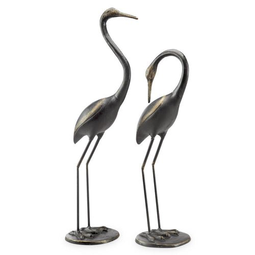 Watchful Waders Iron Crane Garden Statues-Iron Home Concepts