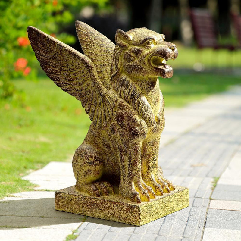 Winged Lion Garden Sculpture-Iron Home Concepts