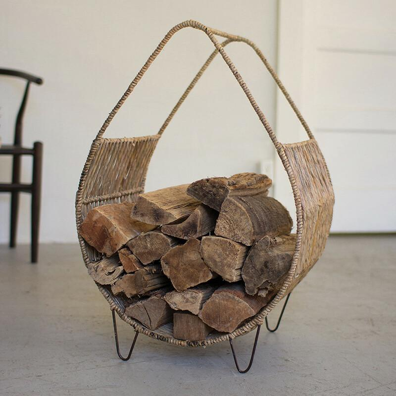 Woven Rush & Metal Firewood Rack With Tall Handle-Iron Home Concepts