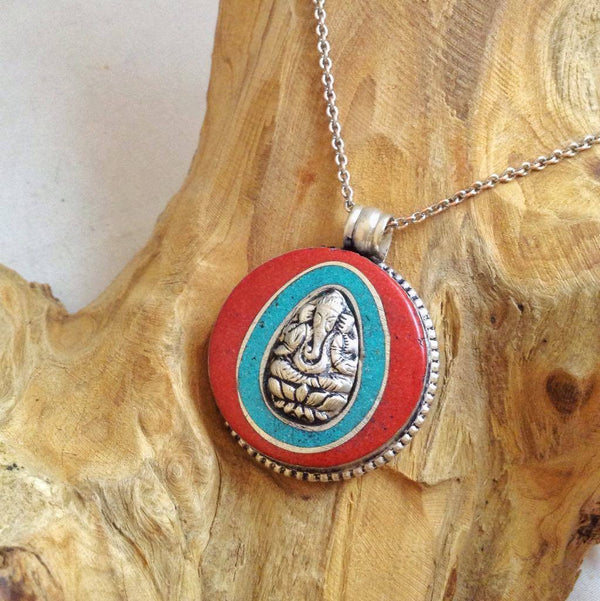 Pendant Brass Ganesha Red and Turquoise
