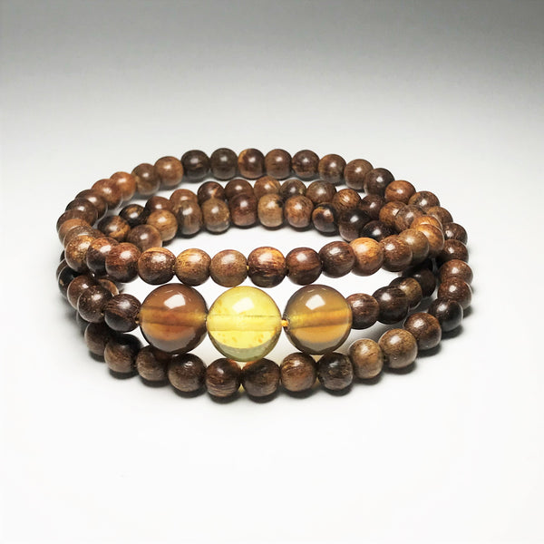 Agar Wood and Blue Amber Bracelet