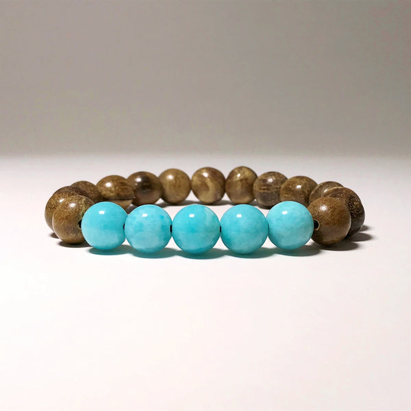 Amazonite Agar Wood Beaded Bracelet