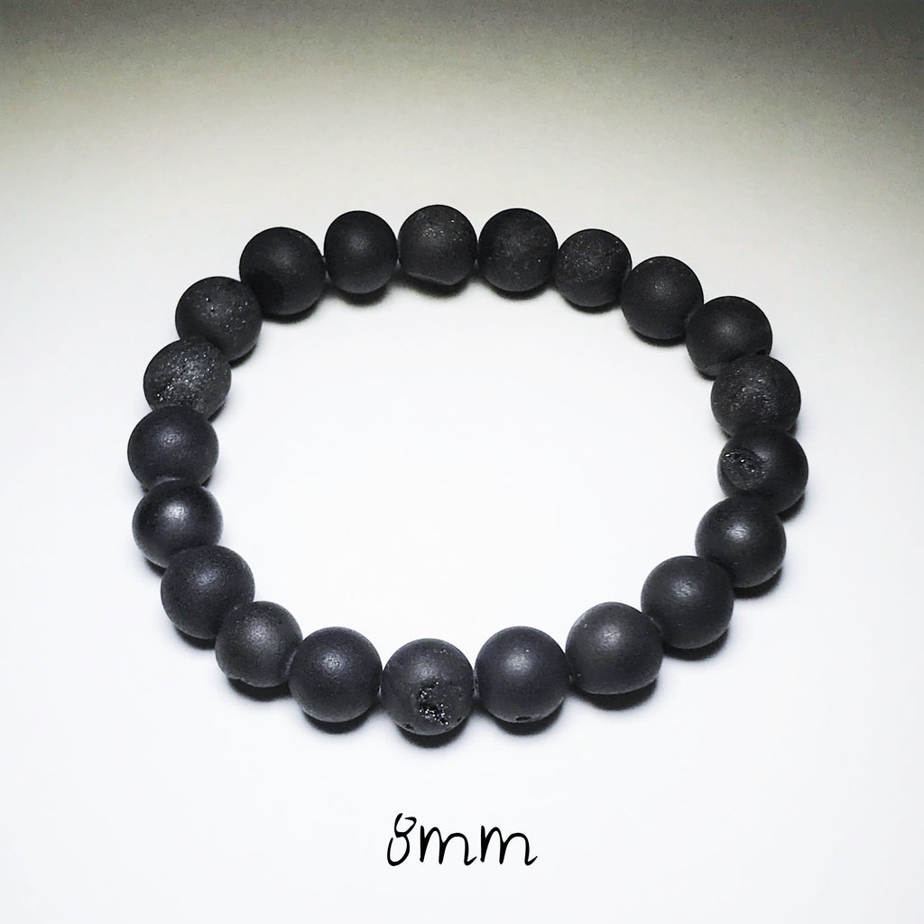 Endless Beaded Bracelet Druzy - Matte Black 8mm