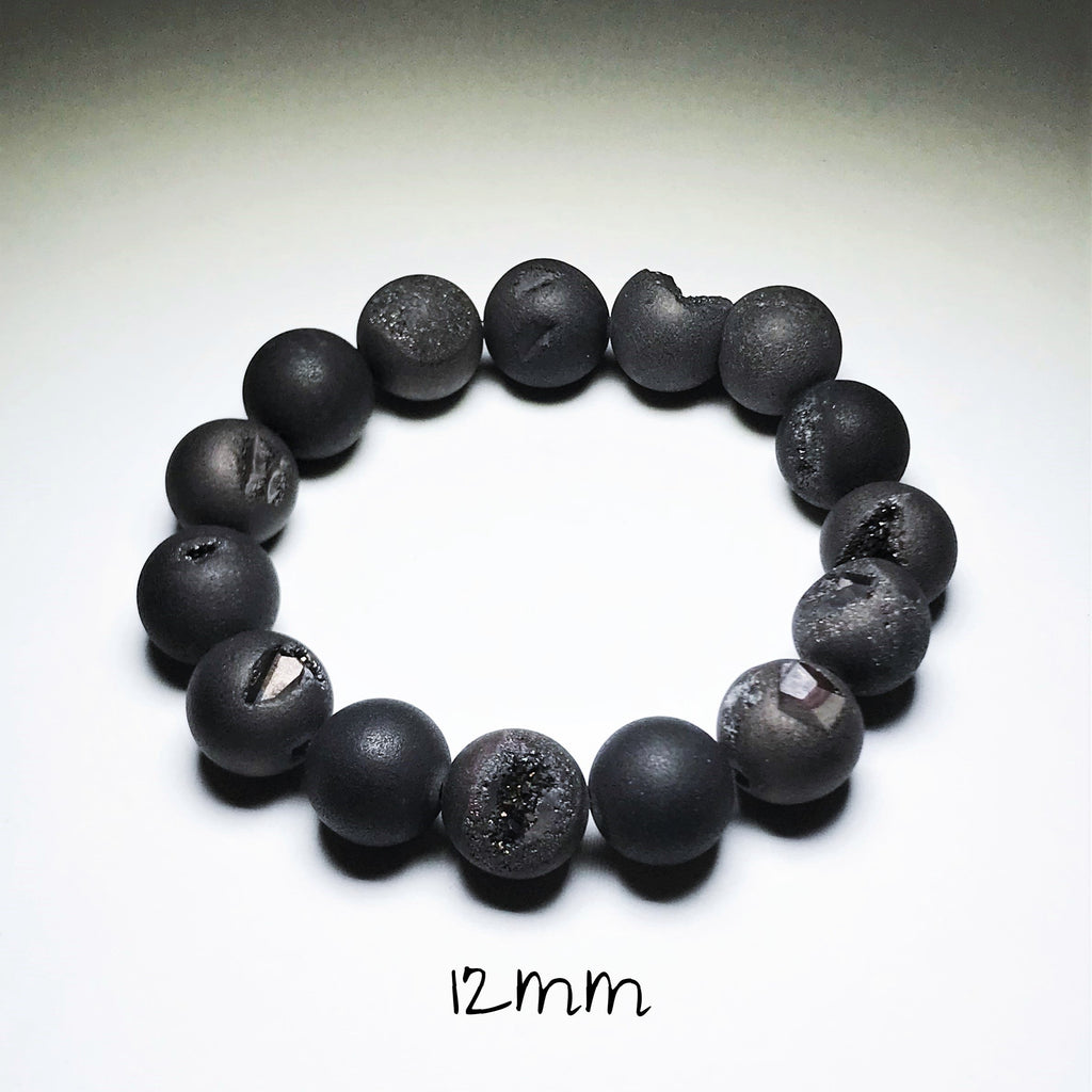 Endless Beaded Bracelet Druzy - Matte Black 12mm