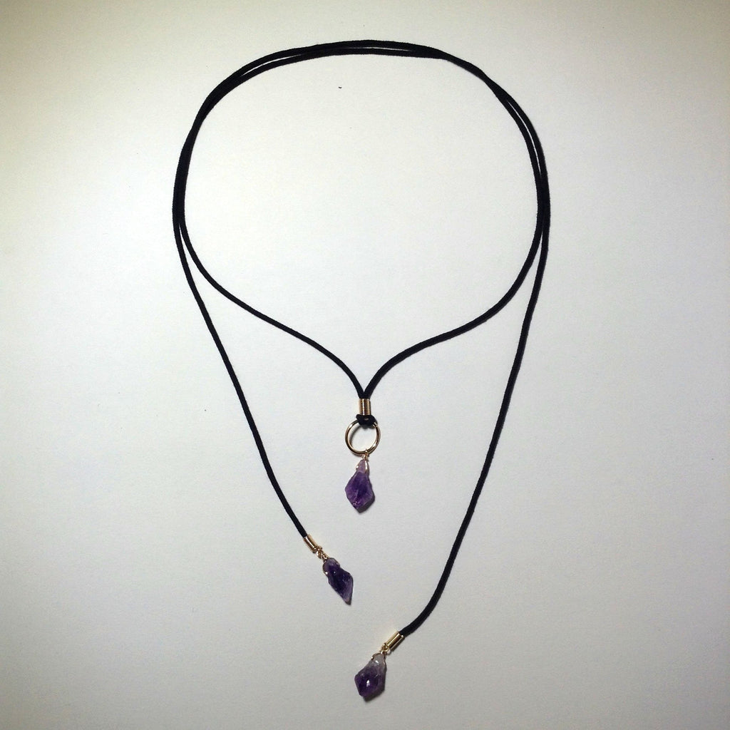 Convertible Amethyst Point Necklace - Gold