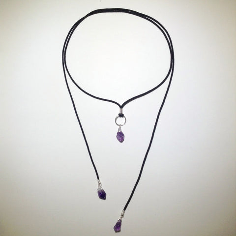 Convertible Amethyst Point Necklace - Silver
