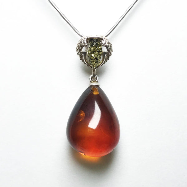 Cognac and Green Amber Pendant