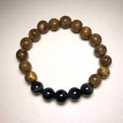 Endless Beaded Agar Wood Bracelet Featuring Blue Tiger Eye Beads