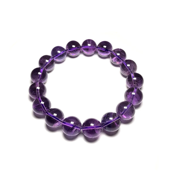 Amethyst Beaded Bracelet - 14mm - Extra High Quality