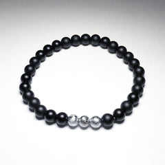Endless Beaded Onyx Bracelet Featuring Meteorite 6mm Beads