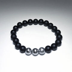 Endless Beaded Onyx Bracelet Featuring Meteorite 8mm Beads