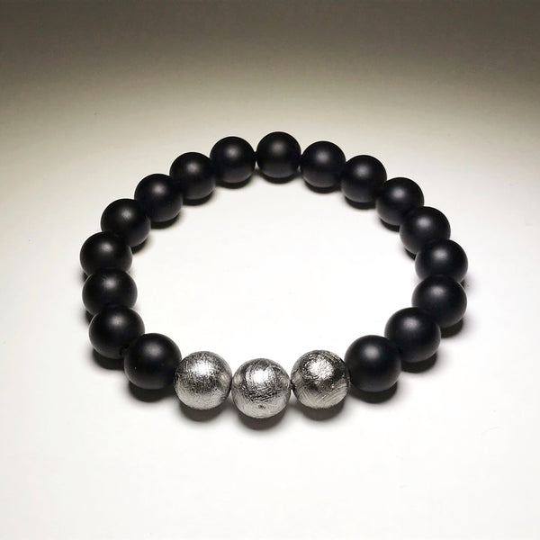 Endless Beaded Onyx Bracelet Featuring Meteorite 10mm Beads