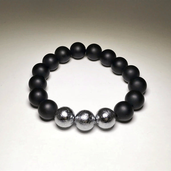 Endless Beaded Onyx Bracelet Featuring Meteorite 12mm Beads