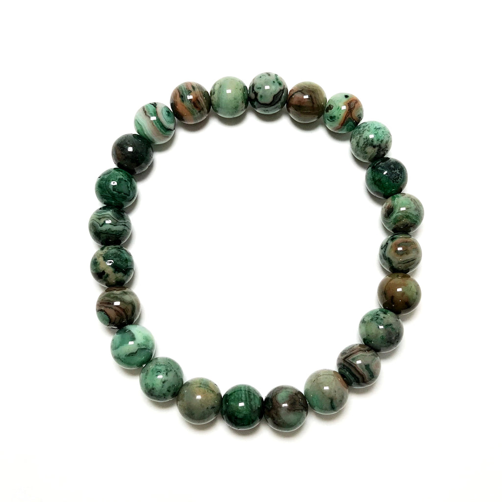 Green Crazy Lace Agate Beaded Bracelet
