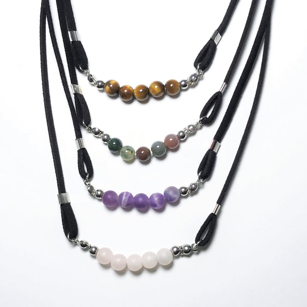 Gemstone Beads on Suede Necklace