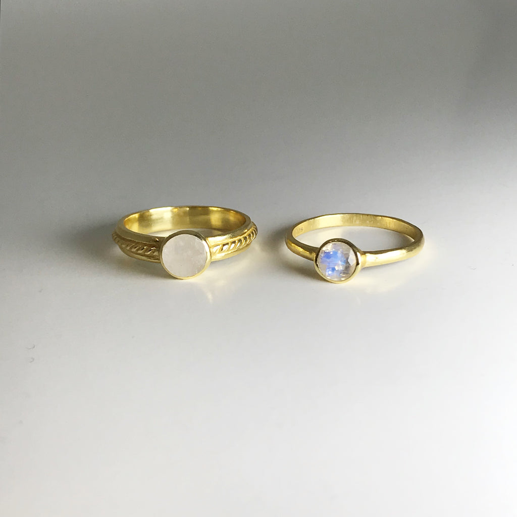 Double Ring Set - Moonstone