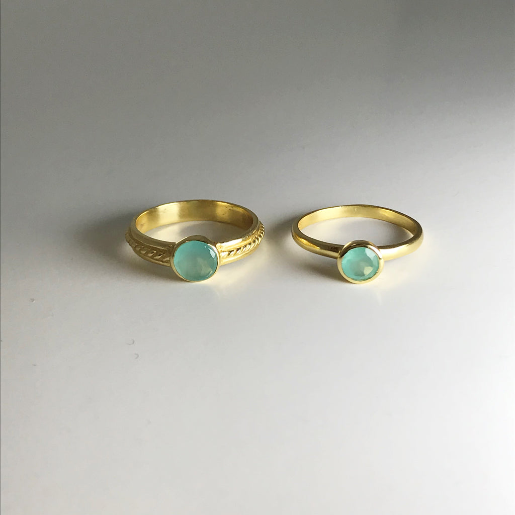 Double Ring Set - Green Chalcedony