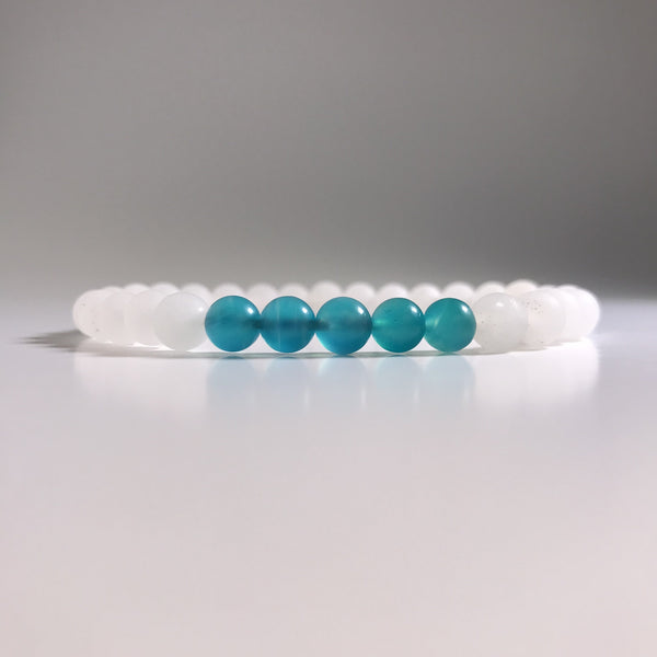 Amazonite with Quartz Beaded Bracelet - High Quality