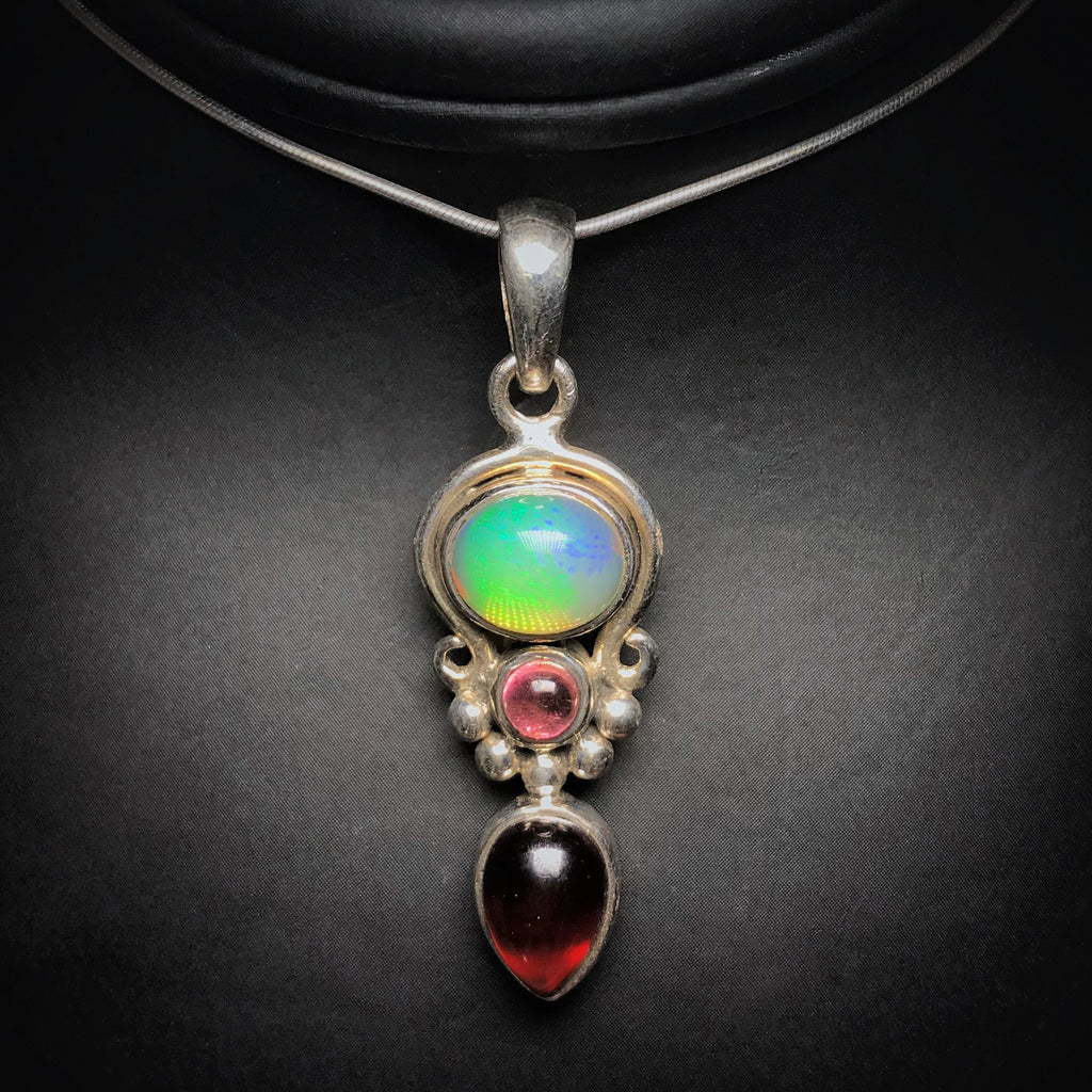 Pendant Ethiopian Fire Opal with Pink Tourmaline and Garnet