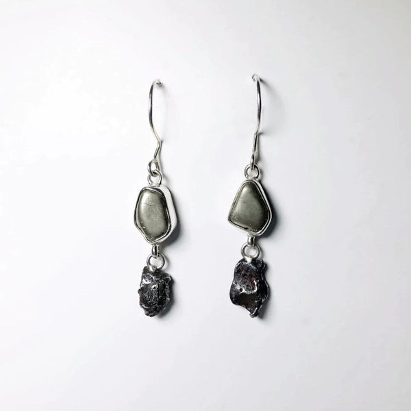 Campo Del Cielo Meteorite and Iron Pyrite Earrings