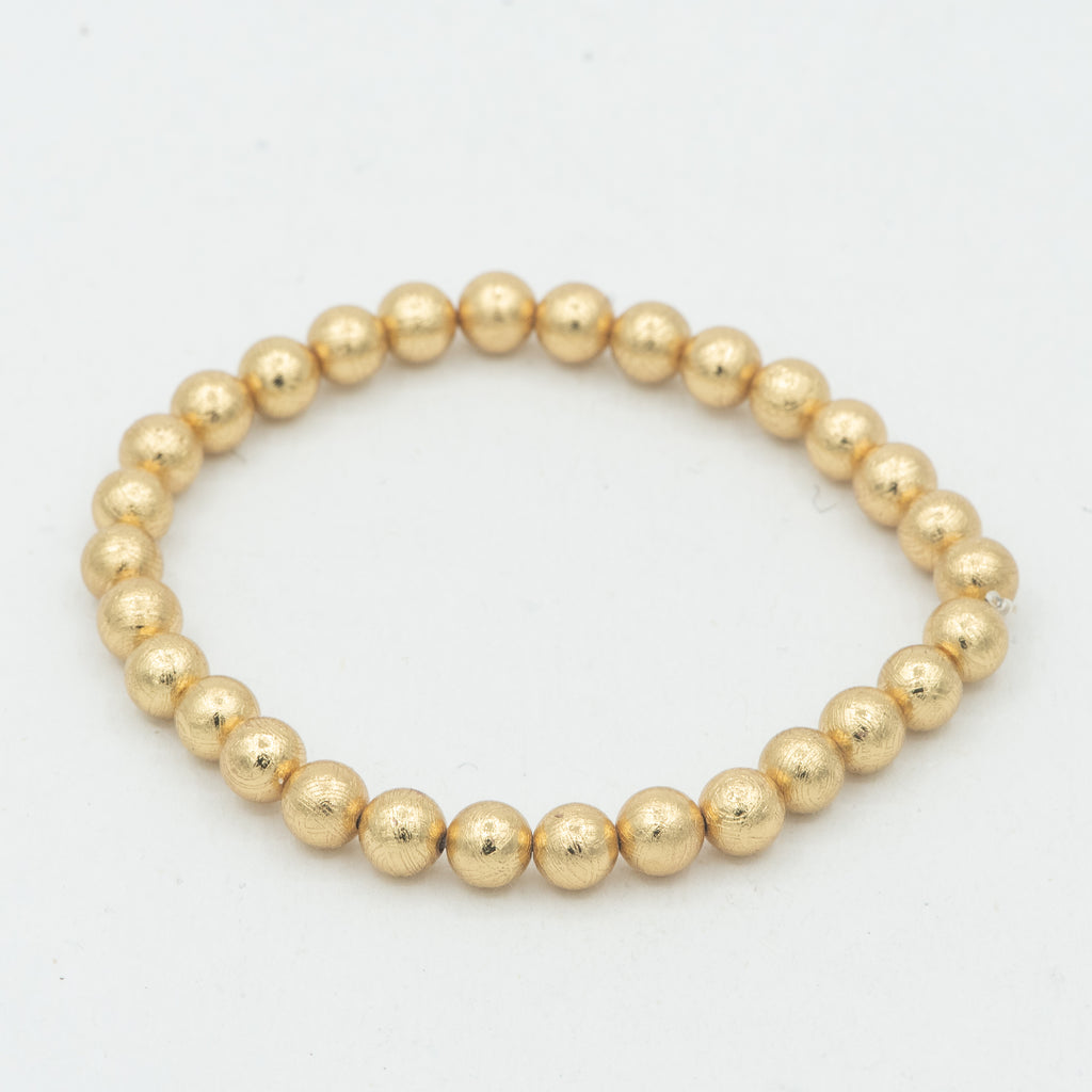 Muonionalusta Meteorite Beaded Bracelet with Gold Finish- 6mm