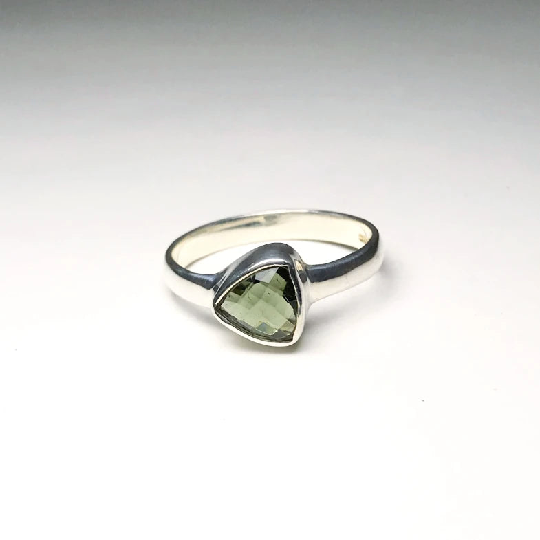 Moldavite Ring - Faceted Style