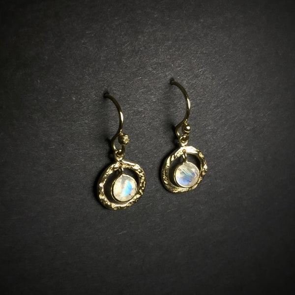 Rainbow Moonstone Gold Finish Dangle Earrings