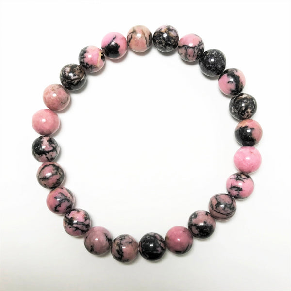 Rhodonite - Pink and Black Beaded Bracelet