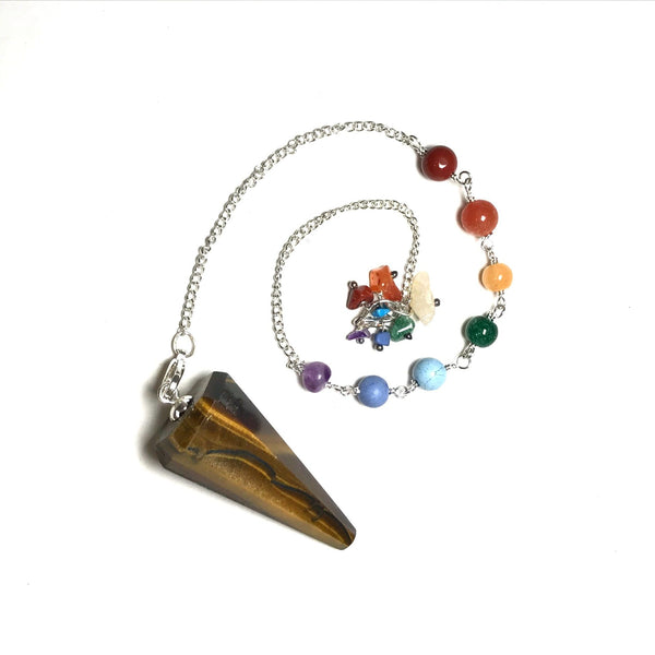 Tiger Eye Pendulum with Chakra Bracelet Conversion